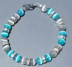 Blue and Gray Cat Eye Bead Bracelet