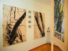 """zu sehen: Dyptichon,""""Wald 1 u. 2""""  und Rückseite Installation """" skoven 1-4 """""""