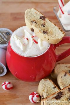 Chocolate Chip Cookie Biscotti and Peppermint Whipped Cream: This is a winning combination and amazing biscotti. Not too hard, but perfectly crispy. A must try. It is like eating cookies with breakfast. #ad #Keurig400 - Eazy Peazy Mealz