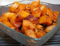 3 Sweet potatoes, peeled and cut into bite size cubes 2 tsp olive oil 1 tbsp butter 1 tbsp of brown sugar (organic) 1 tsp of ground cinnamon 1/4 tsp of ground nutmeg Pinch of ground ginger Sea salt, to taste 350 for 60 minutes, stir 2-3 times.