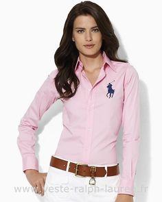 boutique Officielle Ralph Lauren femmes chemises mode pony red blue Chemises  Femmes Ralph Lauren