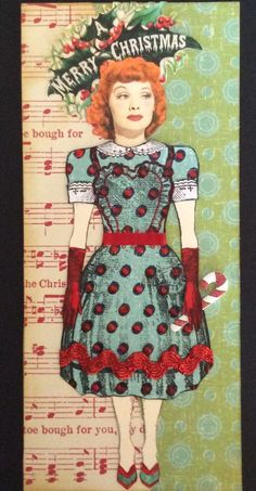 Holiday paper doll by Shannon Benedetti, 2014.  Character Constructions stamps and image of Lucy.