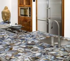 Exotic Stone Gem And Precious Metal Countertops For