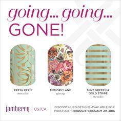 Fresh Fern Metallic, Memory Lane Gloss, Mint Green & Gold Stripe Metallic, are retiring on February 29th at 11:59pm MT Jamminmartha.jamberry.com
