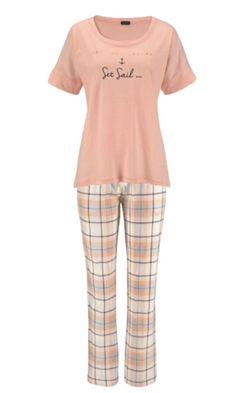 f766bbbe90 Lascana 100% Cotton Apricot Short Sleeve Pyjamas 6 8 10 12 14