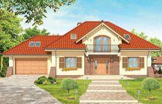 Projekt domu z poddaszem Benedykt 2 o pow. 183,06 m2 z obszernym garażem, z dachem kopertowym, z tarasem, z wykuszem, sprawdź! Home Fashion, House Plans, How To Plan, Mansions, House Styles, Building, Home Decor, Houses, Drawing Rooms