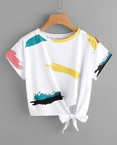 Shop Graffiti Print Knot Side Tee at ROMWE, discover more fashion styles online. Cute Lazy Outfits, Teenage Girl Outfits, Crop Top Outfits, Teenager Outfits, Outfits For Teens, Pretty Outfits, Stylish Outfits, Cool Outfits, Girls Fashion Clothes