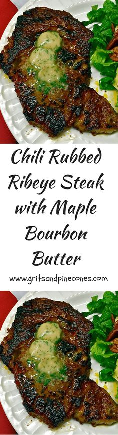 Chili-Rubbed Ribeye Steak with Maple-Bourbon Butter is a decadent Valentine's Day recipe and perfect for a romantic Valentines Day Dinner!   via @http://www.pinterest.com/gritspinecones/