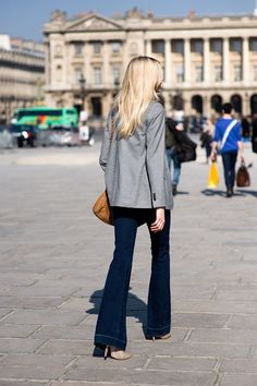 Flared jeans with blazer