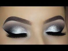 Classic Silver Glitter Eye Makeup Tutorial - Make-Up Halo Eye Makeup, Purple Eye Makeup, Cut Crease Makeup, Eye Makeup Tips, Smokey Eye Makeup, Eyeshadow Makeup, Face Makeup, Makeup Ideas, Makeup Brushes