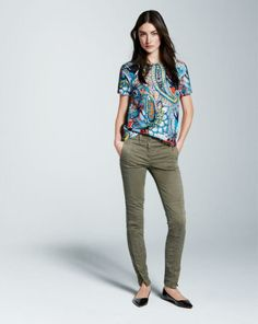 J crew silk moonglow paisley tee and seamed motorcycle pant