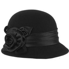 Amazon.com: EH1121LC - Womens Vintage Style 100% Wool Cloche Bucket Winter Hat with Satin Flower Accent ( 6 Colors ) - Black/One Size: Clothing