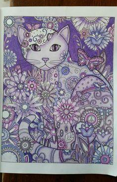 Springtime Kitty in purple & blues