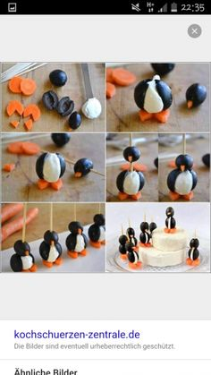 How cute are these penguin snacks ! Holiday Snacks, Snacks Für Party, Christmas Desserts, Christmas Recipes, Cute Food, Good Food, Kids Meals, Easy Meals, Food Art For Kids