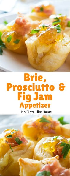 This Brie, Proscuitto and Fig Jam puff pastry hot appetizer is tasty, yet easy to prepare with few ingredients. There's no mixing, no peeling and cutting up veggies. Serve these hors devours at you next party! Pin for later.