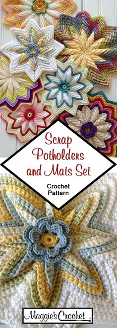 Scrap Potholders and Mats Set Crochet Pattern Crochet Round, Hand Crochet, Knit Crochet, Scrap Crochet, Crochet Needles, Crochet Stitches, Baby Blanket Crochet, Crochet Baby, Susan Bates Crochet Hooks