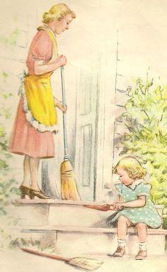 sweeping the porch ....reépinglé par Maurie Daboux ❥•*`*•❥