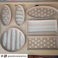 @gracieloveceramics has been busy with her GR Pottery Forms! We are loving her #dots and #stripes :) ... #Repost ・・・ Thinking about design and branding are both important parts of my process. Each of my three colors have been given names that I feel represent the attitude of my work. This week I've been a little obsessed with my color #freshlyminted #grpotteryforms #dotsandstripes #gracielovesconneaut