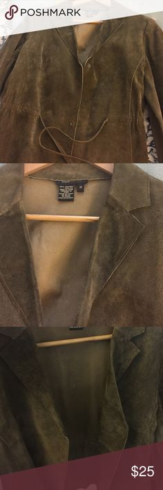 Bcbg! Leather jacket Like new 100% leather blazer jacket in a green with brown color! No holes no ripes! Beauty and elegant! Nice for work has a strap in waist. BCBGMaxAzria Jackets & Coats Blazers
