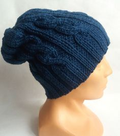 Wełniana czapka na drutach-ciemny turkus. - Motki - Czapki na drutach