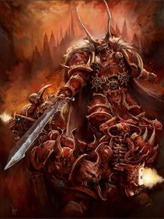 Kranon the Relentless is a Chaos Lord and the current leader of the Crimson Slaughter warband. Cursed by the Blood God Khorne, the Crimson Sabres were driven insane by voices in their heads which belonged to their murdered victims. Upon leading his warband into self-imposed exile in the Eye of Terror, he has driven himself and his Chapter to commit increasingly bloody and vile acts in an attempt to silence the maddening voices that plague him and the rest of the Crimson Slaughter.