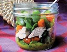 Hähnchensalat mit Saubohnen und Mangodressing