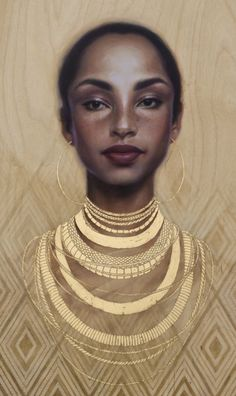 """Bulletproof Soul"" - Sara Golish, oil and gold leaf on panel {figurative art beautiful female head african-american black woman face portrait cropped painting art #2good2btrue} <3 saragolish.com Mesmerizing !!"