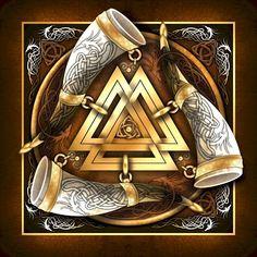 Norse drinking Horns and Valknut Viking Life, Viking Art, Viking Warrior, Norse Pagan, Viking Symbols, Norse Mythology, Tatoo Biceps, Odin Thor, Symbole Viking