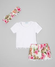 Love this White Tee & Tropical Bubble Shorts Set - Infant & Kids by Just Couture on #zulily! #zulilyfinds