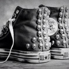 all star converse skulls skull stud studs cool shoes trainers sneaks sneakers