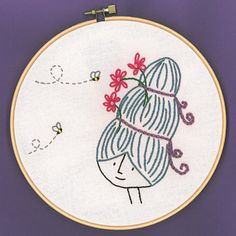 Darling little embroidery pattern on etsy- store is ShinyHappyWorld.  The best part?  The $5 it costs for the pattern buys Honeybees for families through Heifer International.