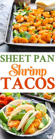 Long vertical image of roasted shrimp and shrimp tacos for an easy sheet pan dinner