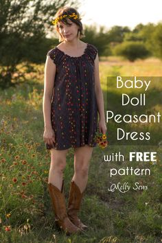 Baby Doll Dress Pattern - Peasant Dress Tutorial - Melly Sews : Sew a Peasant Dress - Boho Baby Doll Dress for Women - Free pattern and tutorial from Melly Sews Peasant Dress Patterns, New Dress Pattern, Doll Dress Patterns, Clothing Patterns, Peasant Dress Tutorials, Peasant Dresses, Peasant Blouse, Pants Pattern, Sewing Patterns Free