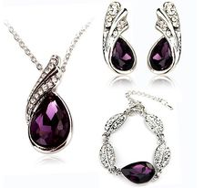 Teardrop Crystal Necklace Earrings Bracelet Jewelry Set Purple 3pcs  $13.99 free shipping You save 22% off the regular price of $18.00 Description: Type: Crystal Necklace Earrings Bracelet Set Material: Alloy Main Stone: Rhinestone, Crystal Gender: Women Color: Purple Necklace Pendant Size: About 1.0cm*2.5cm Earrings Size: About 1.0cm*2cm Bracelet Length: About 20.5cm Package include: Weight: about 36g Dress collocation: All-match  Package Includes: 1 X Crystal Necklace 1 Pair of Crystal Ear…
