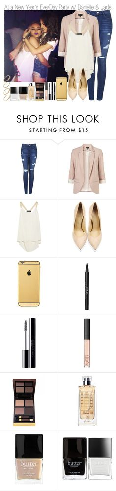 """At a New Year's Eve/Party w/ Jade and Danielle"" by elise-22 ❤ liked on Polyvore featuring Topshop, Elizabeth and James, Charlotte Olympia, Goldgenie, Stila, shu uemura, NARS Cosmetics, Tom Ford, Guerlain and Butter London"