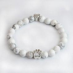 White Beaded Paw Print Bracelet