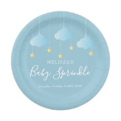 Twinkle sprinkle little star baby boy shower blue paper plate