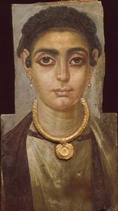 Head of a Woman, 130-160 AD, Egyptian. Fayum Mummy Portraits usually depict a single person, showing the head, or head and upper chest, viewed frontally. The background is always monochrome, sometimes with decorative elements. In terms of artistic tradition, the images clearly derive more from Graeco-Roman traditions than Egyptian ones. The population of the Fayum area was greatly enhanced by a wave of Greek immigrants during the Ptolemaic period.