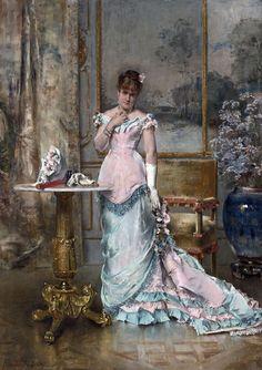 """L'Attente"" by  Alfred Émile Léopold Stevens (1823-1906)"