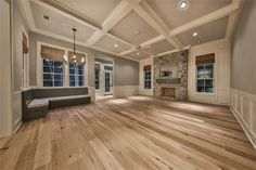 820 Eagle Pointe Montgomery, TX 77316: Photo Open concept kitchen, breakfast area with built in cushioned bench and family room with access to the pool bath, loggia, summer kitchen and pool.  Accented by beautiful coffered ceilings.