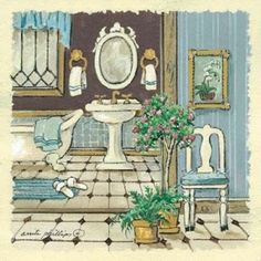 Tangletown Fine Art Antique Bath I By Anita Phillips, Gallery Wrap Canvas, Green Pictures For Bathroom Walls, Bathroom Prints, Bathroom Towels, Bathroom Ideas, Painting Prints, Fine Art Prints, Vintage Bathtub, Bath Art, House Drawing