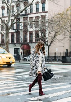 Leopard Coat High Boots | Jenny Cipoletti of Margo & Me