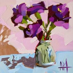 "Daily Paintworks - ""Purple Carnations in Vase"" - Original Fine Art for Sale - © Angela Moulton"