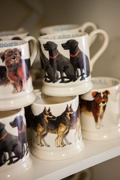 Emma Bridgewater Dog Mugs - not sure which board to pin this on as it encompasses my favourite topics - a nice cuppa & dogs! Dresser Inspiration, Emma Bridgewater Pottery, My Emma, Kitchen Dresser, Eclectic Kitchen, Farm Shop, English Springer, Stoke On Trent, Cute Mugs