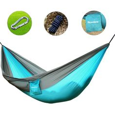 Newdora Camping Hammocks Garden Hammock Ultralight Portable Nylon Parachute Multifunctional Lightweight Hammocks with 2 x Hanging Straps for Backpacking, Travel, Beach, Yard >>> More info could be found at the image url. (This is an affiliate link) Hammock Swing Bed, Indoor Hammock Bed, Water Hammock, Backyard Hammock, Portable Hammock, Hammock Stand, Camping Hammock, Hammocks, Hammock Accessories