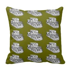 Willys World War Two Army Jeep Illustration Pillow