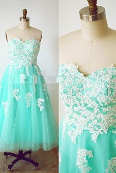 Sweetheart Strapless Chiffon Prom Dresses, Party Dresses Exquisite Applique Prom Formal Dress