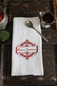 Kitchen Towel -  Merry Christmas Stamp  by MODERNVINTAGEMARKET, $8.00 #christmas #kitchen towel
