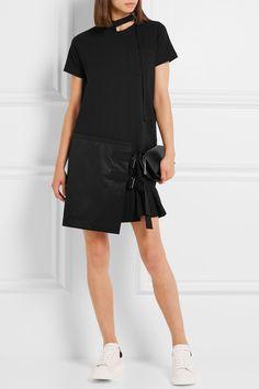 Sacai   Asymmetric pleated cotton-jersey and twill mini dress   NET-A-PORTER.COM