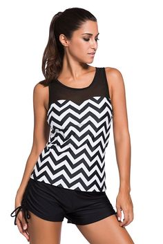 79f2d3b79f Chic Black White Zigzag Print Mesh Splice Sport 2pcs Tankini Swimsuit.  Tankini Swimsuits For WomenWomens ...